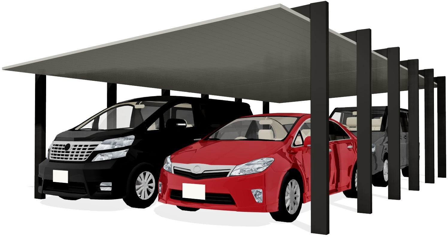 カーポートSC 1500(耐積雪50㎝) 2台用 縦連棟 <車4台>